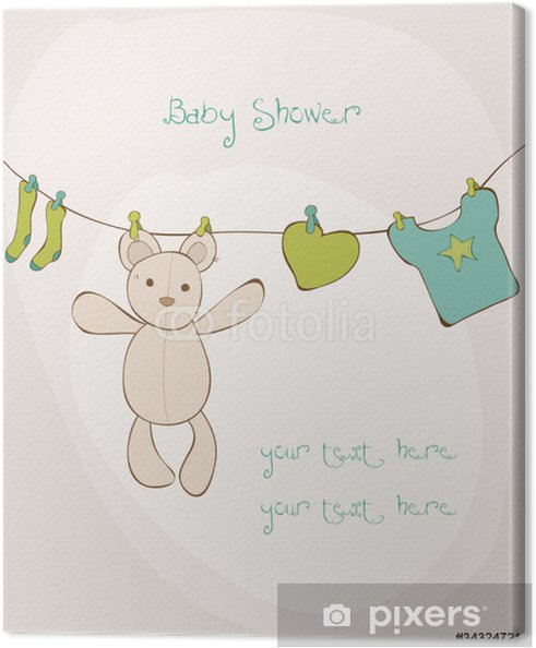 photo regarding Baby Shower Card Printable referred to as Youngster Shower Card with position for your words inside of vector Canvas Print